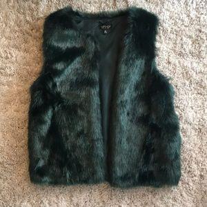 Teal faux fur vest